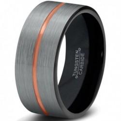 Вольфрамовое Матовое Обручальное (свадебное) кольцо 8мм (мужское, женское) с покрытием 18к розовым золотом, CJ714-B-8-A