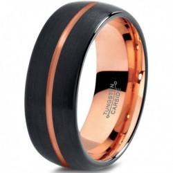Вольфрамовое Матовое Черное Обручальное (свадебное) кольцо 8мм (мужское, женское) с покрытием 18к розовым золотом CJ716-8-A