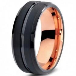 Вольфрамовое Матовое Черное Обручальное (свадебное) кольцо 8мм (мужское, женское) с покрытием 18к розовым золотом CJ706-8-A