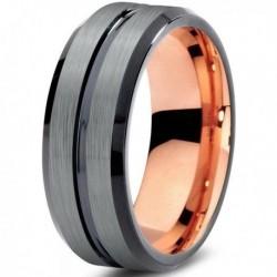 Вольфрамовое Матовое Обручальное (свадебное) кольцо 8мм (мужское, женское) с покрытием 18к розовым золотом CJ706-B-8-A