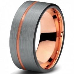 Вольфрамовое Матовое Обручальное (свадебное) кольцо 8мм (мужское, женское) с покрытием 18к розовым золотом CJ709-B-9-A