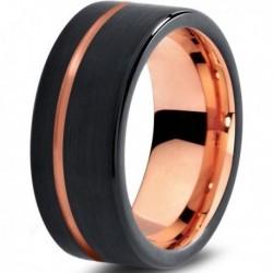 Вольфрамовое Матовое Обручальное (свадебное) кольцо 8мм (мужское, женское) с покрытием 18к розовым золотом CJ709-9-A