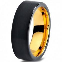 Вольфрамовое Черное Матовое 7мм Обручальное (свадебное) кольцо CJ703-Y-7-A