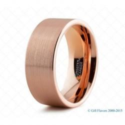 Вольфрамовое Матовое Обручальное (свадебное) кольцо с покрытием 18к розовым золотом 8мм 774174260
