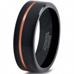 Вольфрамовое Матовое Обручальное (свадебное) кольцо 6мм (мужское, женское) с покрытием 18к розовым золотом CJ713-6-A