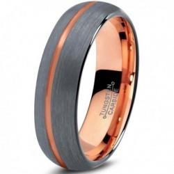 Вольфрамовое Матовое Обручальное (свадебное) кольцо 6мм (мужское, женское) с покрытием 18к розовым золотом CJ715-B-6-A
