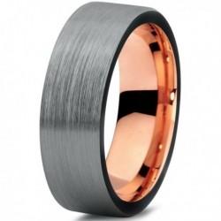 Вольфрамовое Матовое Обручальное (свадебное) кольцо 6мм (мужское, женское) с покрытием 18к розовым золотом CJ704-B-6-A