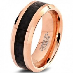 Вольфрамовое Матовое Обручальное (свадебное) кольцо 8мм (мужское, женское) с покрытием 18к розовым золотом TR328-A