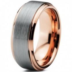 Вольфрамовое Матовое Обручальное (свадебное) кольцо 8мм (мужское, женское) с покрытием 18к розовым золотом CJ373-B-A
