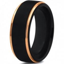 Вольфрамовое Матовое Обручальное (свадебное) кольцо 8мм (мужское, женское) с покрытием из желтого золота CJ702-Y-8-A