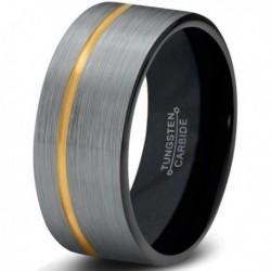 Вольфрамовое Матовое Обручальное (свадебное) кольцо 8мм (мужское, женское) с покрытием из желтого золота CJ713-Y-B-8-A