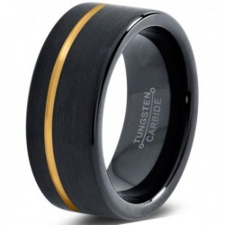 Вольфрамовое Матовое Обручальное (свадебное) кольцо 8мм (мужское, женское) с покрытием из желтого золота CJ713-Y-8-A