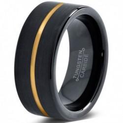 Вольфрамовое Черное Матовое Обручальное (свадебное) кольцо 8мм (мужское, женское) с покрытием из желтого золота CJ714-Y-8-A