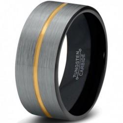 Вольфрамовое Матовое Обручальное (свадебное) кольцо 8мм (мужское, женское) с покрытием из желтого золота CJ714-Y-B-8-A