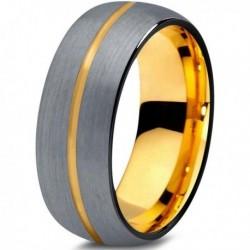 Вольфрамовое Матовое Обручальное (свадебное) кольцо 8мм (мужское, женское) с покрытием из желтого золота CJ716-Y-B-8-A