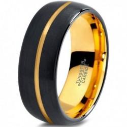 Вольфрамовое Матовое Черное Обручальное кольцо 8мм (мужское, женское) с покрытием из желтого золота CJ716-Y-8-A