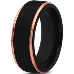 Вольфрамовое Черное Матовое Обручальное (свадебное) кольцо 8мм (мужское, женское) с покрытием 18к розовым золотом CJ702-8
