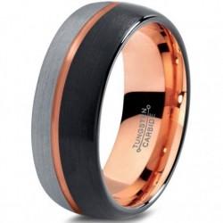 Вольфрамовое Матовое Обручальное кольцо 8мм (мужское, женское) с покрытием 18к розовым золотом CJ715-B-H-8-A