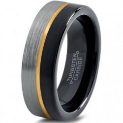Вольфрамовое Матовое Обручальное кольцо 6мм (мужское, женское) с покрытием из желтого золота, линия по центру CJ714-Y-6-A