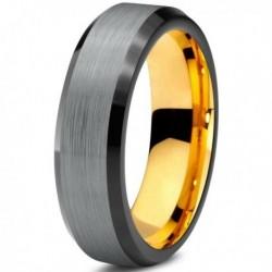 Вольфрамовое Матовое Обручальное кольцо 6мм (мужское, женское) с покрытием из желтого золота CJ708-Y-B-6-A