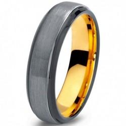 Вольфрамовое Матовое Обручальное (свадебное) кольцо 6мм (мужское, женское) с покрытием из желтого золота CJ700-Y-B-6-A