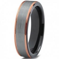 Вольфрамовое Матовое Обручальное кольцо 6мм (мужское, женское) с покрытием 18к розовым золотом CJ702-B-6-A