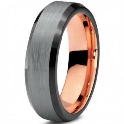 Вольфрамовое Матовое Обручальное (свадебное) кольцо 6мм (мужское, женское) с покрытием 18к розовым золотом CJ708-B-6-A