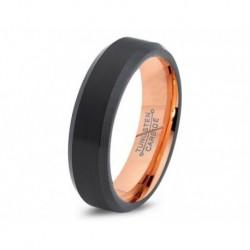 Вольфрамовое Матовое Обручальное кольцо 6мм (мужское, женское) с покрытием 18к розовым золотом 715945354