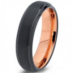 Вольфрамовое Черное Матовое Обручальное (свадебное) кольцо 6мм (мужское, женское) с покрытием 18к розовым золотом CJ700-6