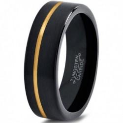 Вольфрамовое Матовое Обручальное кольцо 4мм (мужское, женское) с покрытием из желтого золота, со смещенной линией CJ713-Y-4-A