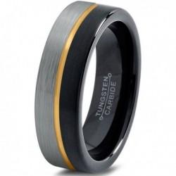 Вольфрамовое Матовое Обручальное кольцо 4мм (мужское, женское) с покрытием из желтого золота, линия по центру CJ714-Y-B-H-4-A