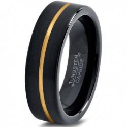 Вольфрамовое Черное Матовое Обручальное кольцо 4мм (мужское, женское) с покрытием из желтого золота CJ714-Y-4-A