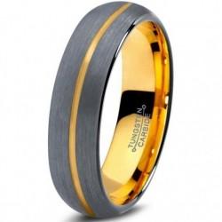 Вольфрамовое Матовое Обручальное кольцо 4мм (мужское, женское) с покрытием из желтого золота, линия по центру CJ716-Y-B-4-A