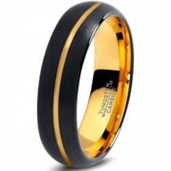Вольфрамовое Матовое Обручальное кольцо 4мм (мужское, женское) с покрытием из желтого золота, линия по центру CJ716-Y-4-A