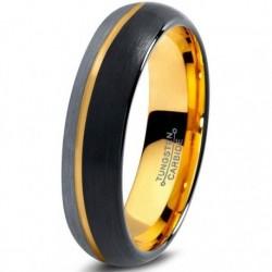 Вольфрамовое Матовое кольцо 4мм (мужское, женское) с покрытием из желтого золота, со смещенной линией CJ715-Y-B-H-4-A