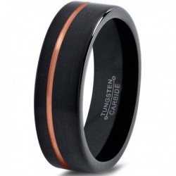 Вольфрамовое Черное Матовое свадебное кольцо 4мм(мужское, женское) с покрытием 18к розовым золотом CJ713-4-A