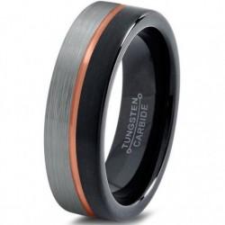 Вольфрамовое Матовое свадебное кольцо 4мм (мужское, женское) с покрытием 18к розовым золотом, линия по центру CJ714-B-H-4-A
