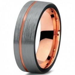 Вольфрамовое Матовое Обручальное (свадебное) кольцо 6мм (мужское, женское) с покрытием 18к розовым золотом CJ709-B-7-A