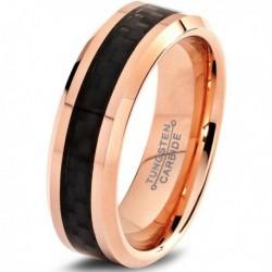 Вольфрамовое Матовое Обручальное (свадебное) кольцо 6мм (мужское, женское) с покрытием 18к розовым золотом TR444-A