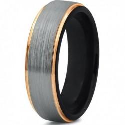 Вольфрамовое Матовое Обручальное кольцо 6мм (мужское, женское) с покрытием из желтого золота CJ702-Y-B-62