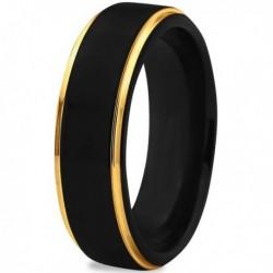 Вольфрамовое Матовое свадебное кольцо 6мм (мужское, женское) с покрытием из желтого золота CJ702-Y-6-A