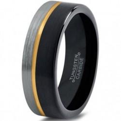 Вольфрамовое Матовое Обручальное кольцо 6мм с покрытием из желтого золота, со смещенной линией CJ713-Y-B-H-6-A