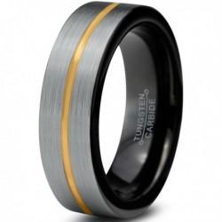 Вольфрамовое Матовое свадебное кольцо 6мм (мужское, женское) с покрытием из желтого золота, линия по центру CJ714-Y-B-6-A