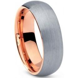 Вольфрамовое Обручальное (свадебное) кольцо 6 мм с покрытием 18к розовым золотом TR334-B-L