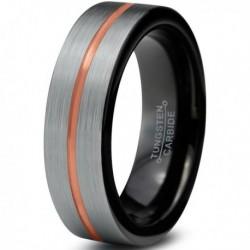 Вольфрамовое Матовое Обручальное (свадебное) кольцо 6мм (мужское, женское) , линия по центру CJ714-B-6-A