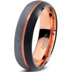 Вольфрамовое Матовое Обручальное кольцо 6мм (мужское, женское) с покрытием 18к розовым золотом , линия по центру CJ716-B-H-6-A