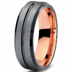 Вольфрамовое Матовое свадебное кольцо 6мм (мужское, женское) с покрытием 18к розовым золотом CJ706-B-6-A