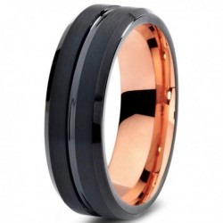 Вольфрамовое Матовое Обручальное (свадебное) кольцо 6мм с покрытием 18к розовым золотом CJ706-6-A