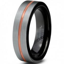 Вольфрамовое матовое свадебное кольцо 4мм с черным покрытием внутри, полоса в центре CJ714-B-4-A