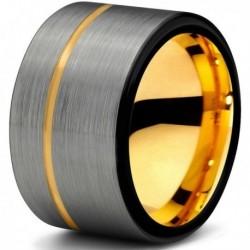 Вольфрамовое Матовое свадебное кольцо 12мм (мужское, женское) с покрытием из желтого золота CJ709-Y-B-12-A
